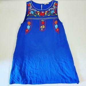 Jodifl Blue Embroidered Sleeveless Dress Sz:8